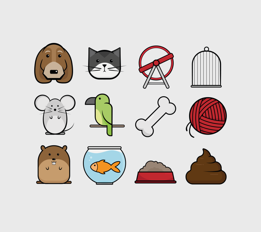 Comic Pets Icon Set